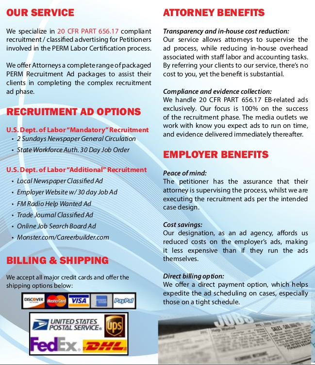 PERM LABOR CERTIFICATION, GREEN CARD, H1B TEMP WORKER IMMIGRATION ADVERTISING