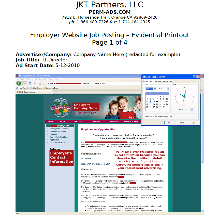 Example PERM Employer Website Printout
