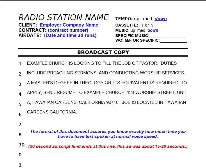 Example PERM Radio Ad Script