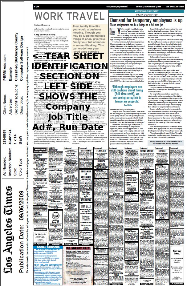 Example Newspaper Tearsheet for PERM Classified Ad