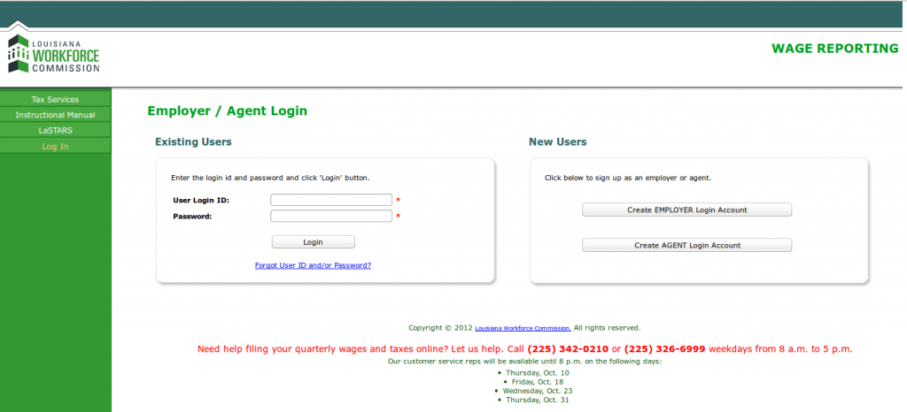 Louisiana SWA JOb Order Employer Login Page