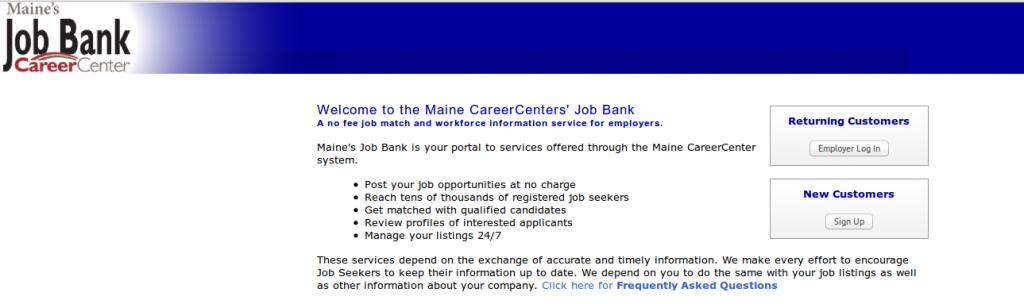 Maine SWA JOb Order Employer Login Page