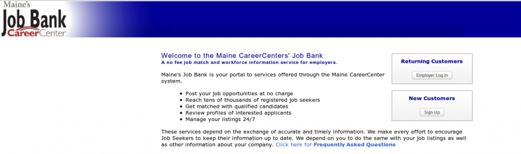 Maine SWA JOb Order Employer Login Page