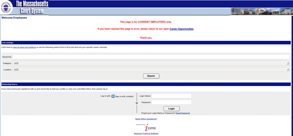 Massachusetts SWA JOb Order Employer Login Page