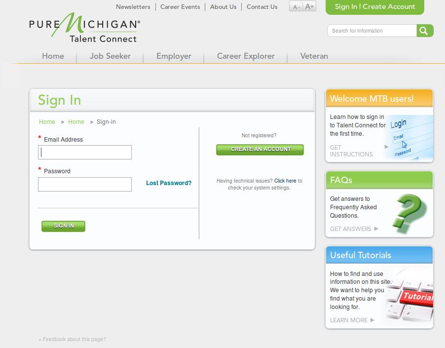 Michigan SWA JOb Order Employer Login Page