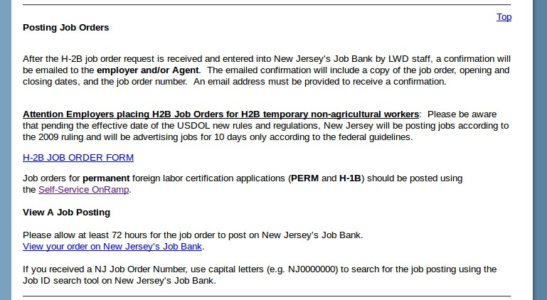 Post A Job Order on New Jersey Dept Of Labor Workforce Development