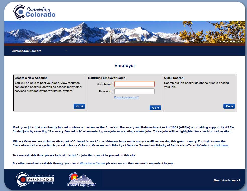 Colorado SWA JOb Order Employer Login Page