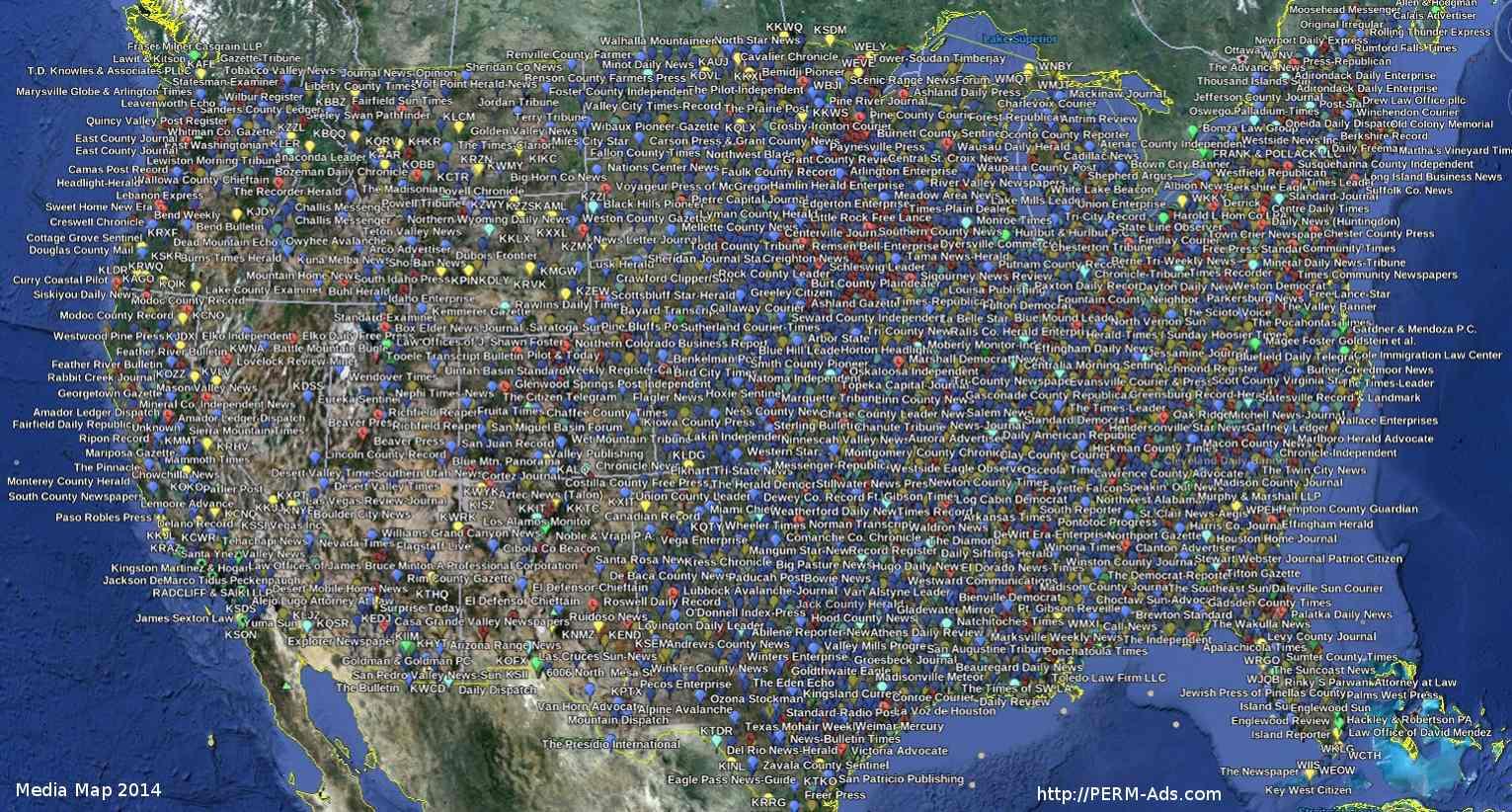 PERM-Ads.com Media Map