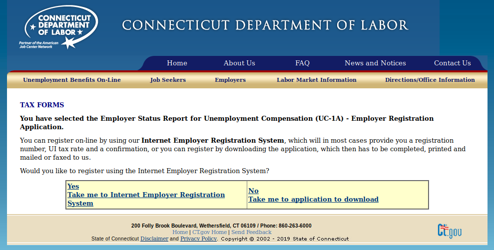 Connecticut Bueinss Tax Registration Form Online SWA Job Order