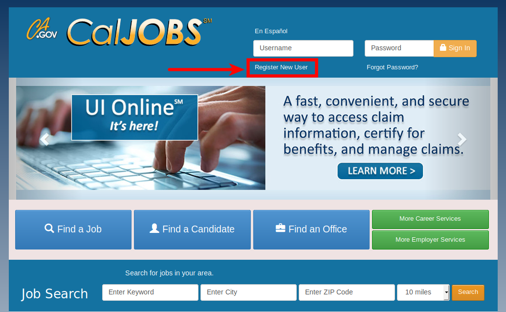 SWA Job Order California EDD CALJOBS Home Page