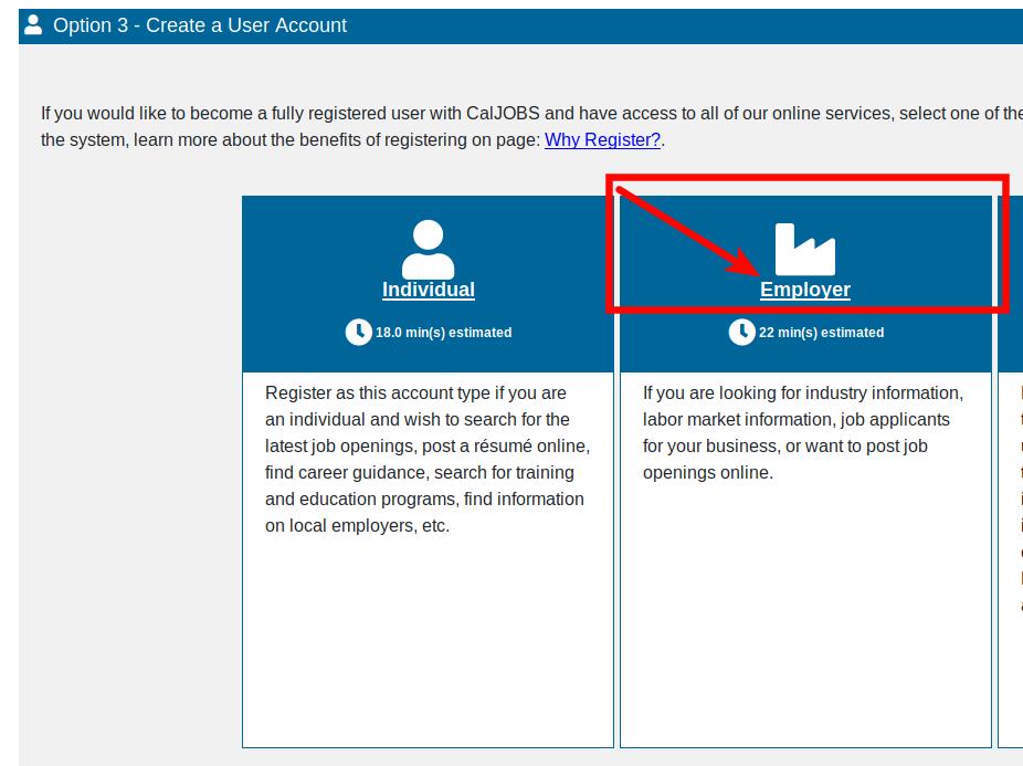 SWA Job Order California Employer Registration Step 1