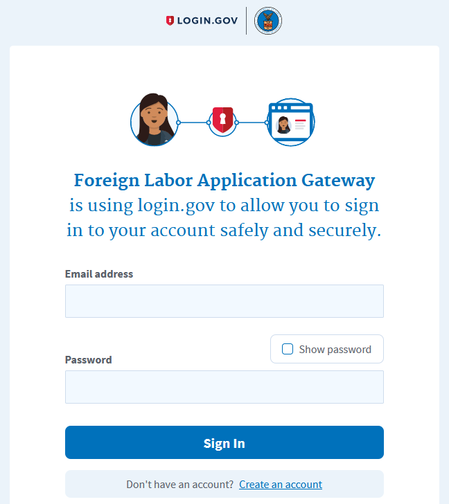 DOL FOREIGN LABOR APPLICATION GATEWAY FLAG LOGIN DOT GOV