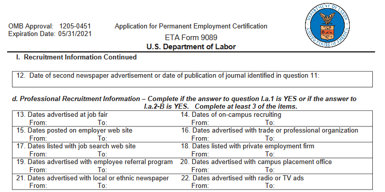 DOL FORM 9089 PERM RECRUITMENT REPORT B